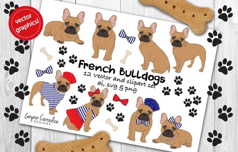 French bulldog clipart, french bulldog vectors, frenchie clipart, frenchie  vectors, frenchie planner clipart, french bulldog printable.