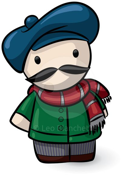 ClipArt Illustration Adorable Frenchman Wearing Blue Beret.