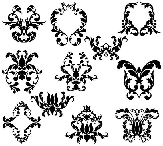 Fresco damask clipart.