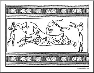 Clip Art: Ancient Civilizations: The Minoans: Knossos Bull Fresco.