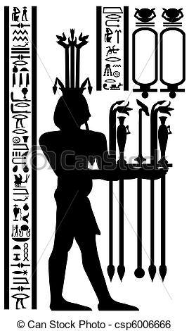 Clip Art Vector of egyptian hieroglyphs and fresco.