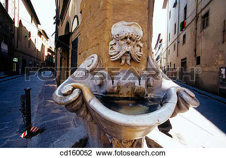 Stock Photo of Fountain in Piazza de Frescobaldi. Florence. Italy.