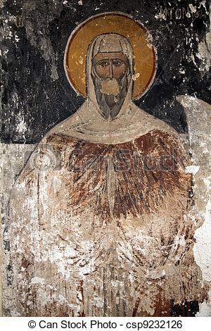 Stock Illustration of Byzantine Icons damaged.