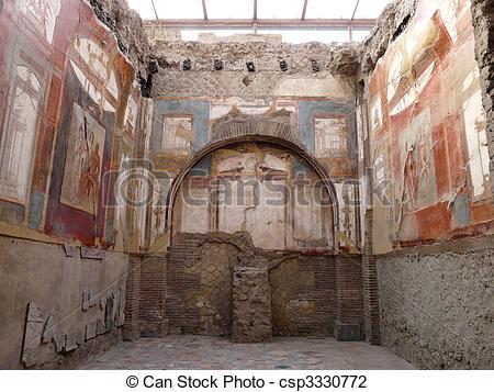 Stock Photo of Ancient painted wall frescoes at Herculaneum, Italy.