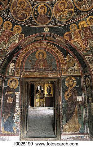 Stock Photograph of Cyprus, Asinou, church of Panagia Forviotissa.
