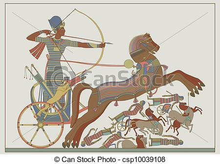 Vector Clipart of Ancient egyptian vector relief from a fresco of.
