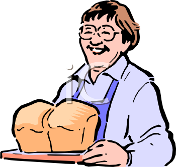 woman Holding Fresh Baked Loaves of Bread.