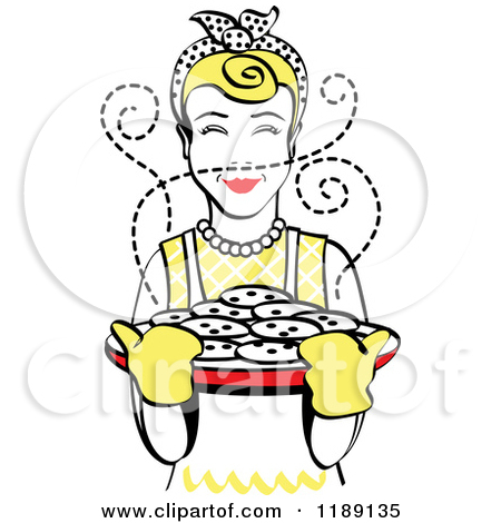 Clipart of a Retro Happy Blond Housewife Holding Freshly Baked.