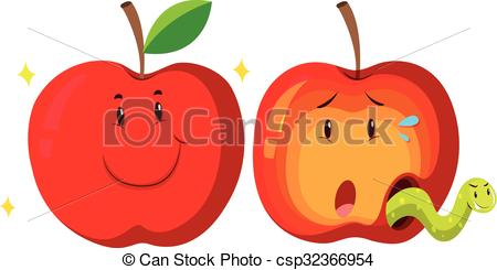 Clipart Vector of Fresh apple and rotten apple illustration.