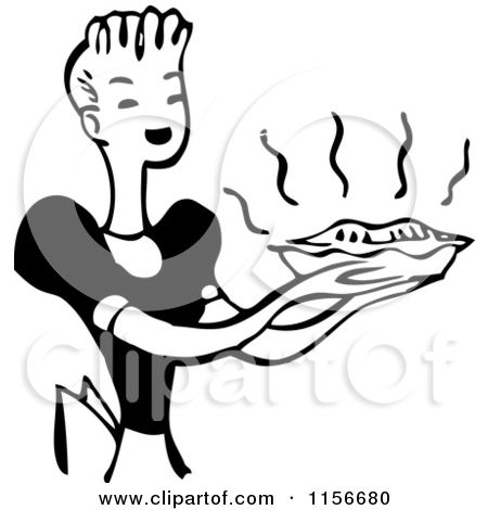 Clipart of a Black and White Retro Housewife Carrying a Fresh Pie.