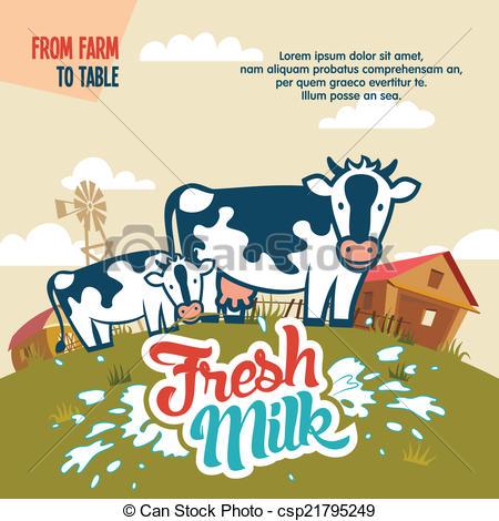 Farm fresh milk clipart.