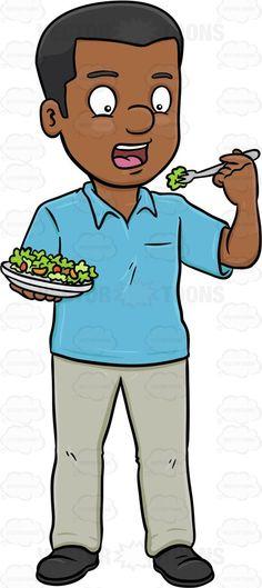 A Woman Delightfully Eats A Bowl Of Fresh Salad.