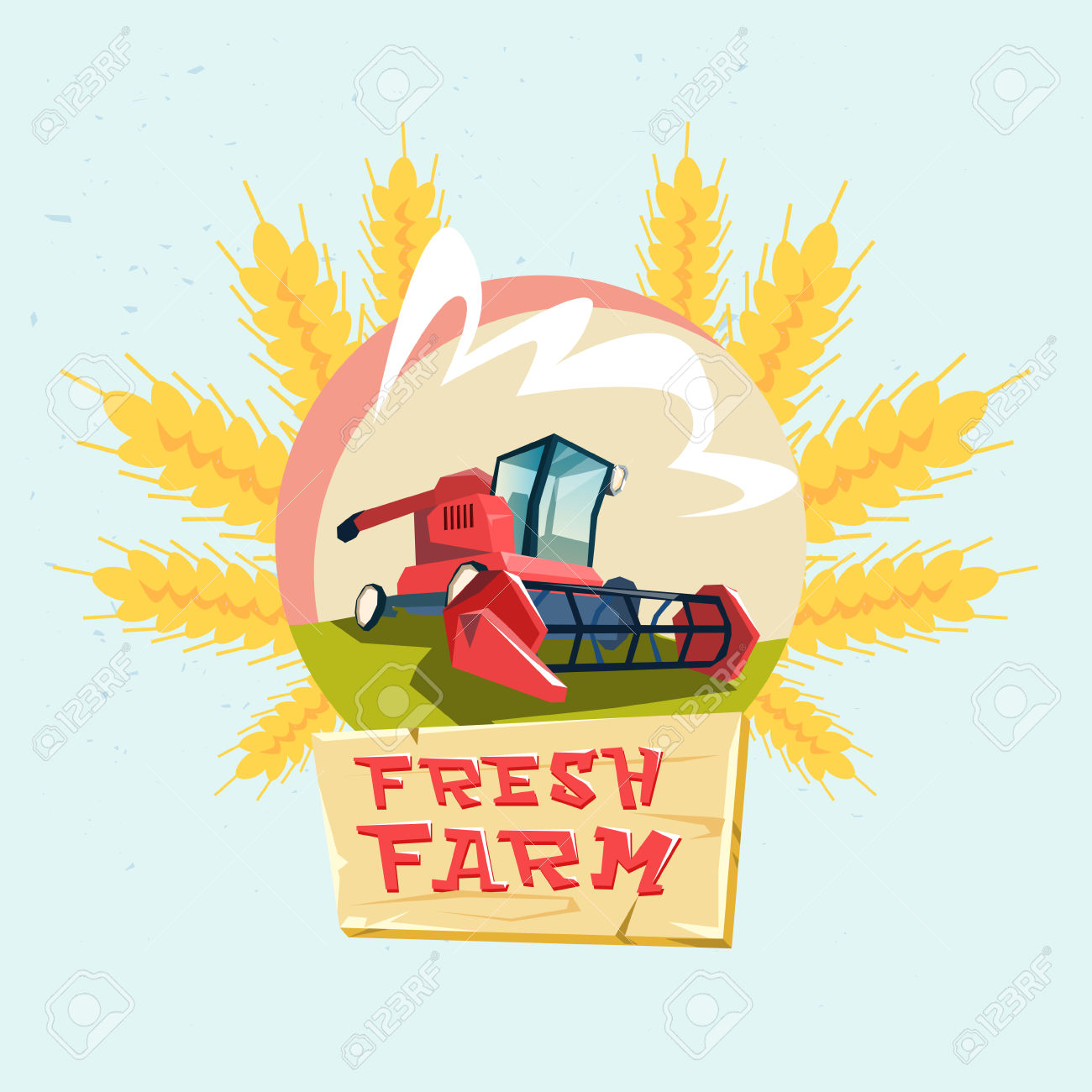 Combine Harvesting Wheat Crop In Field Eco Fresh Farm Logo Flat.