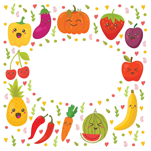 Healthy Fruits Vegetables Border Frame Silhouette Clip Art, Vector.