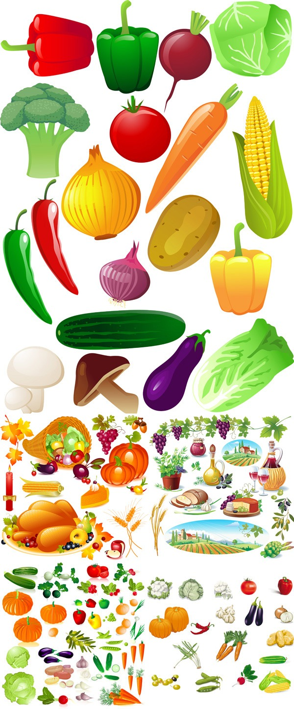 Fresh fruits and vegetables vector graphics.