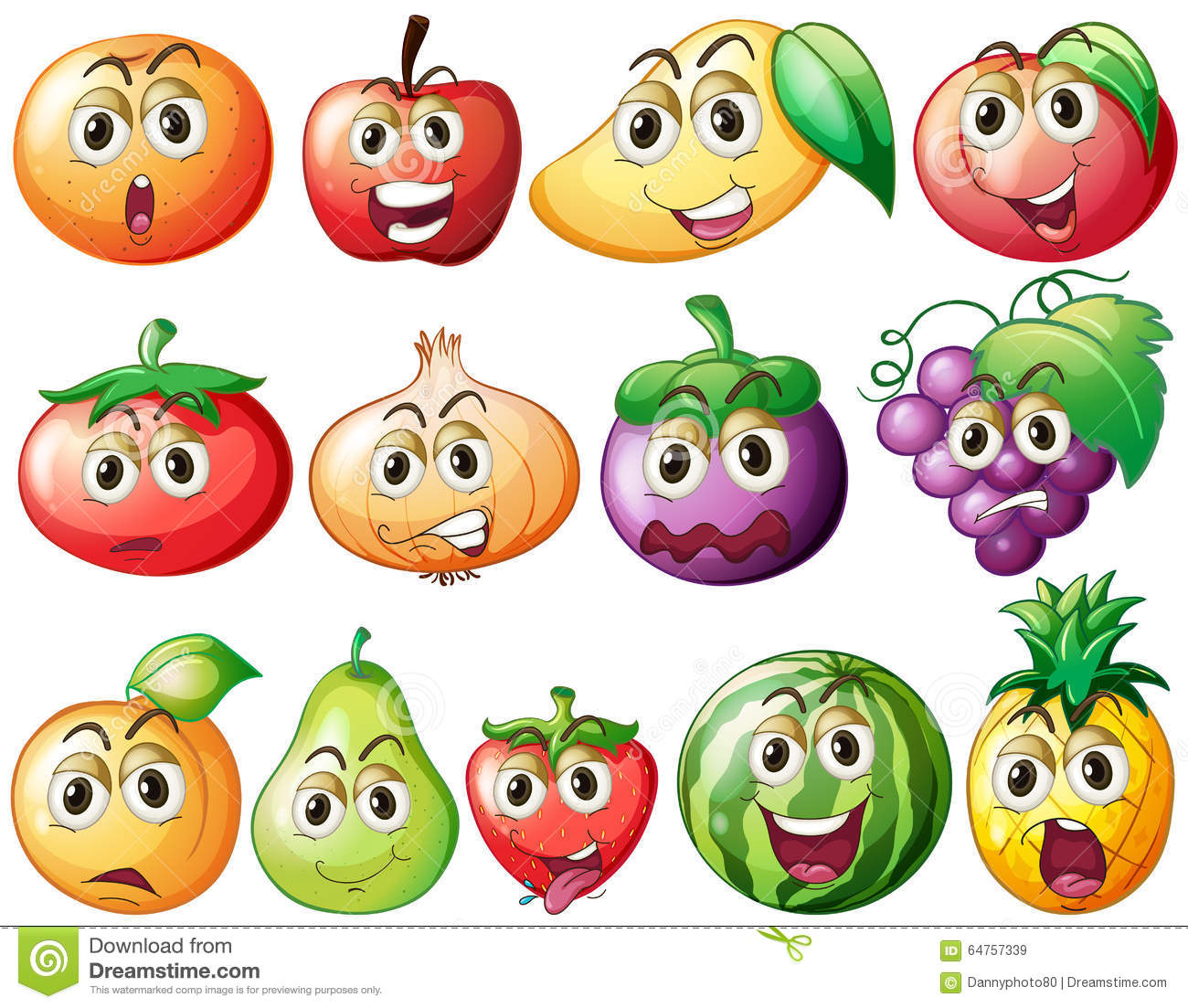 Fresh Fruits And Vegetables With Face Stock Illustration.