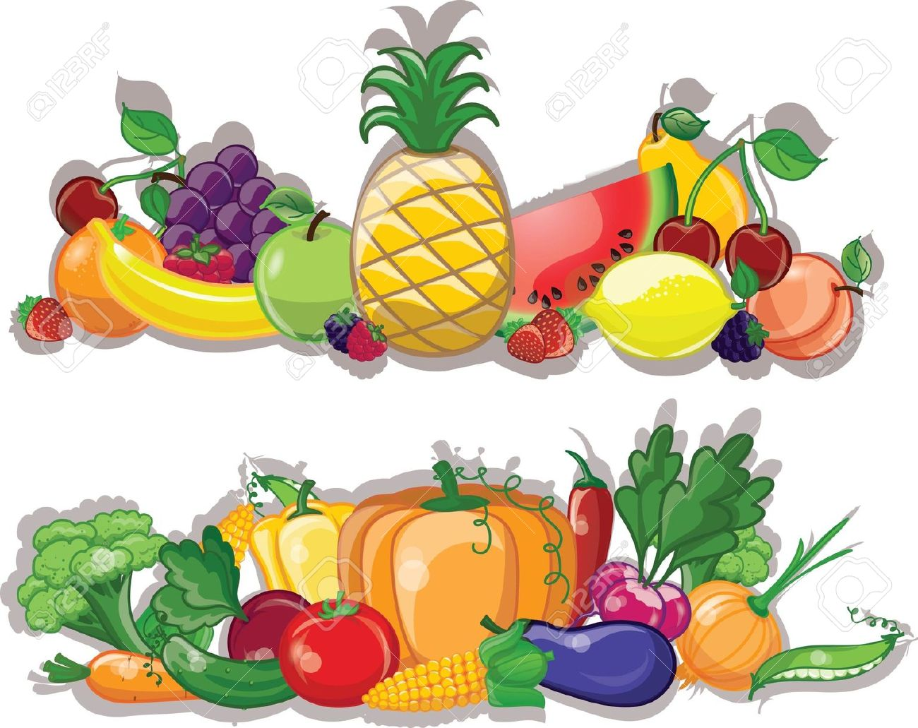 Fresh fruit and vegetables clipart.