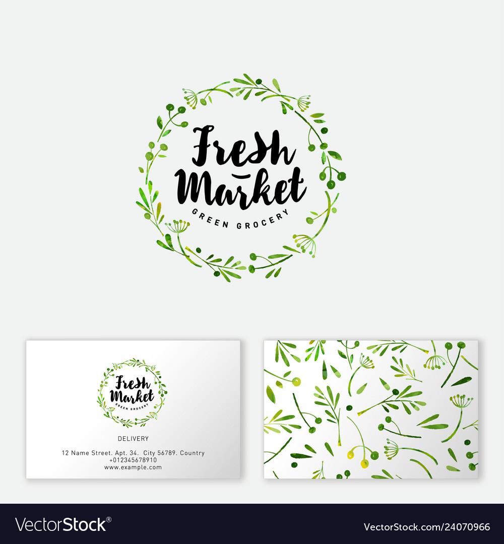 Logo fresh market seamless pattern.