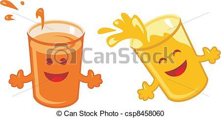 Vector Clipart of Orange Juice Cartoon set.