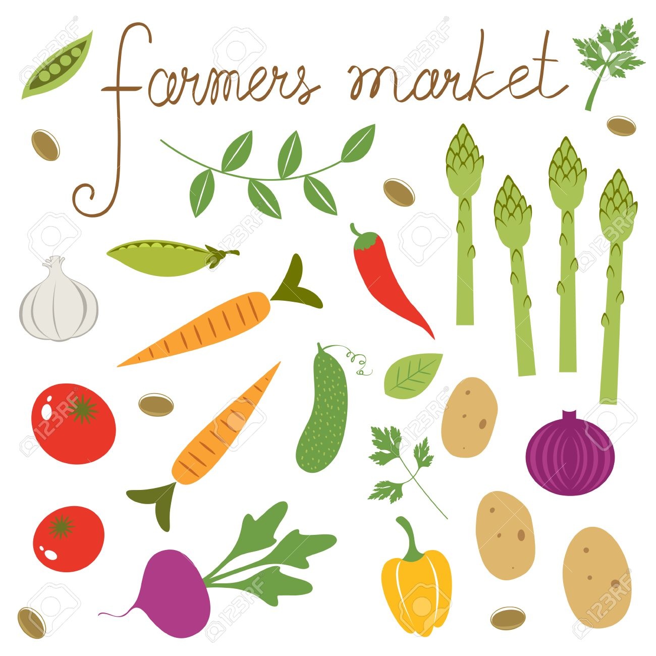 Farmers Market Set. Collection Of Fresh Vegetables Royalty Free.