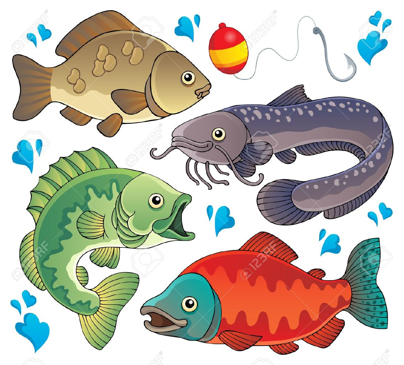 Fresh water fish clipart.