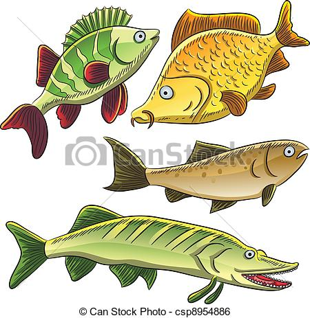 Clip Art Vector of Fish Collection.