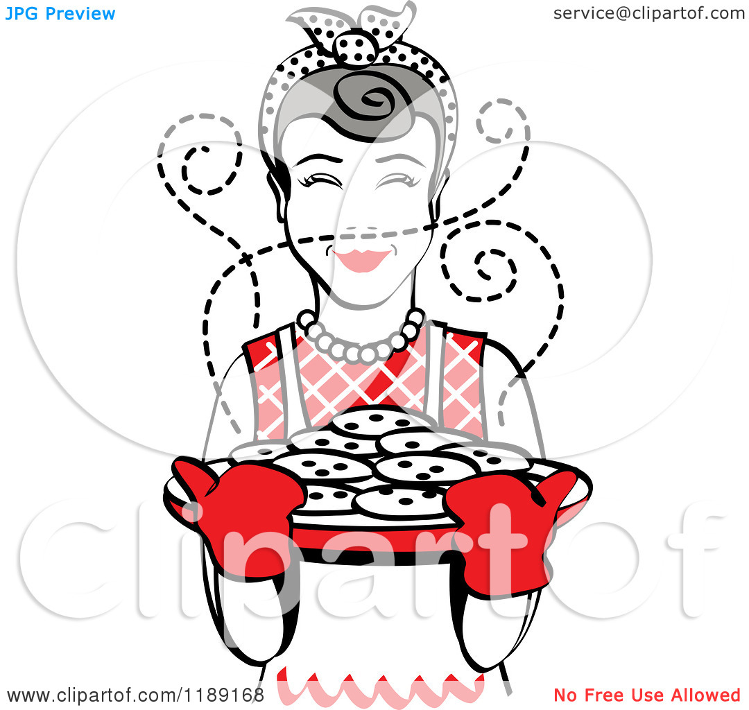 Clipart of a Retro Happy Gray Haired Housewife Holding Freshly.