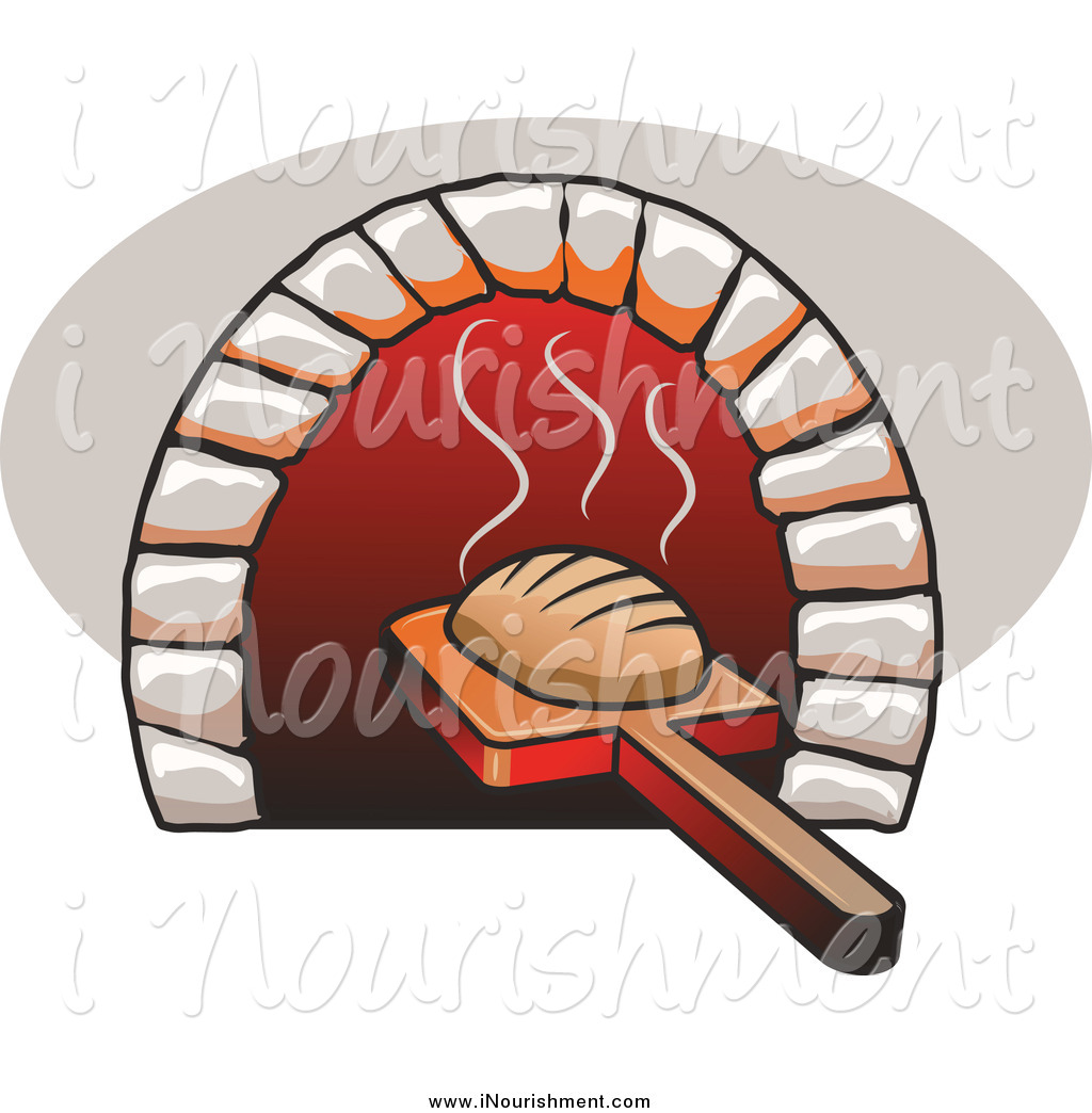 Clipart of a Fresh Baked Bread Being Removed on a Peel from a.