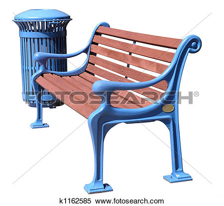 Stock Image of Freshly Painted Blue Park Bench and Rubbish Bin.