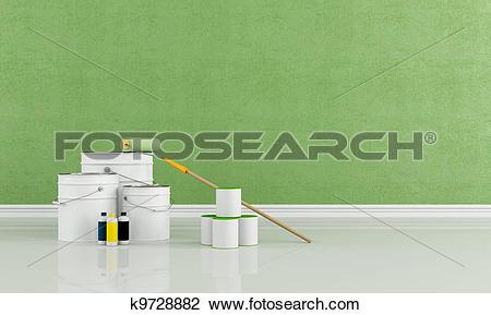 Clip Art of Freshly painted green room k9728882.