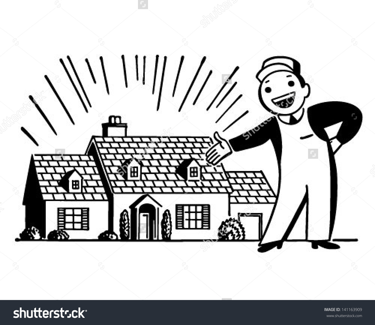 Man Freshly Painted House Retro Clip Stock Vector 141163909.