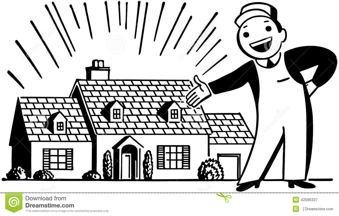 Man With Freshly Painted House Stock Vector.