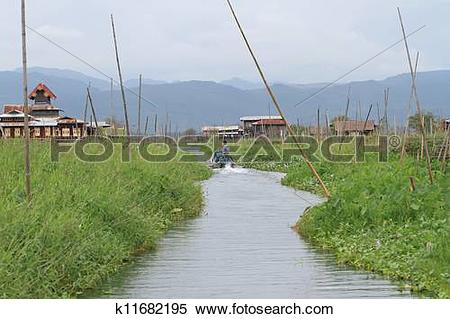 Stock Image of Inle Lake is a freshwater lake located in the Shan.
