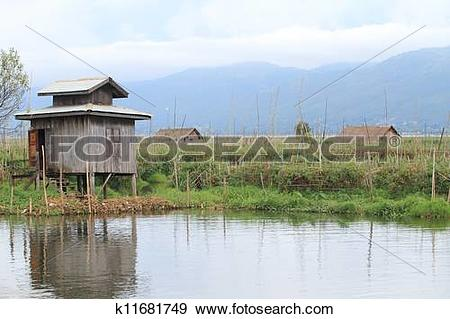 Stock Photograph of Inle Lake is a freshwater lake located in the.