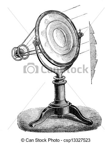 Clip Art of Fresnel lens, (lighthouse lens) working and section.