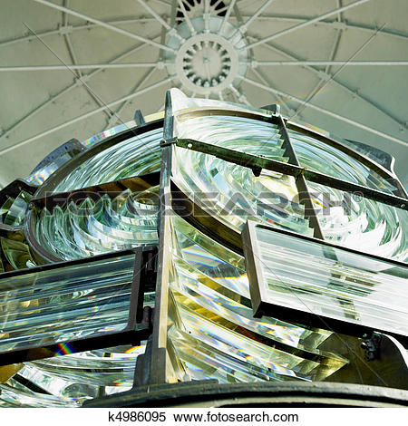 Stock Image of lighthouse's interior, Fresnel lens k4986095.