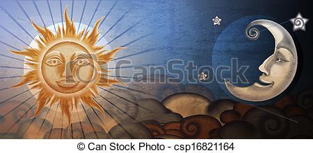 Clip Art Vecteur de grunge, soleil, fresque, lune, imitation.