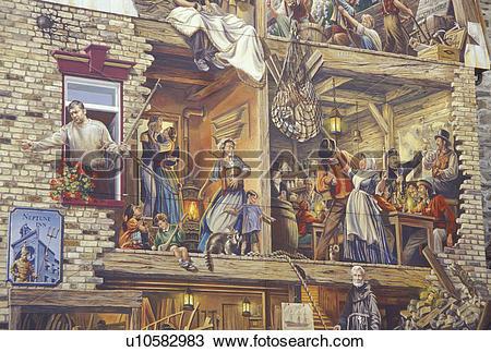 Stock Photo of mural, Quebec City, Canada, Quebec, La fresque du.