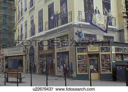 Picture of mural, fresque, Lyon, France, Rhone.