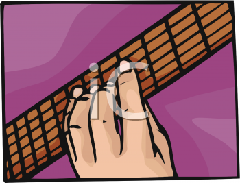 Royalty Free Clip Art Image: Fingers on a Fret Board of a Guitar.