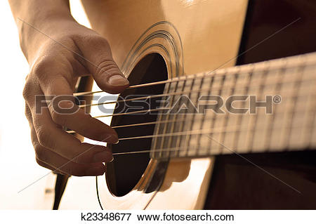 Picture of Playing Guitar Strings and Frets k23348677.