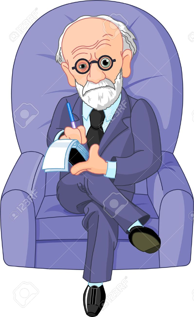 Dr. Freud On A Psychotherapy Session Royalty Free Cliparts.