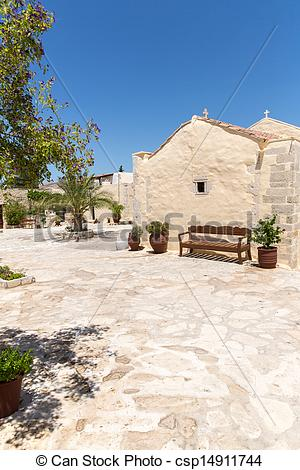 Stock Photo of Monastery (friary) in Messara Valley at Crete.