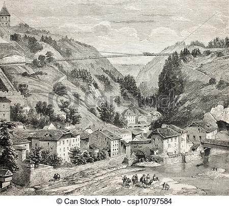 Stock Illustration of Fribourg suspension bridge.