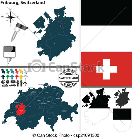 Vector Clipart of Map of Fribourg, Switzerland.