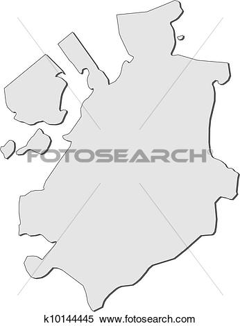 Clipart of Map of Fribourg (Switzerland) k10144445.