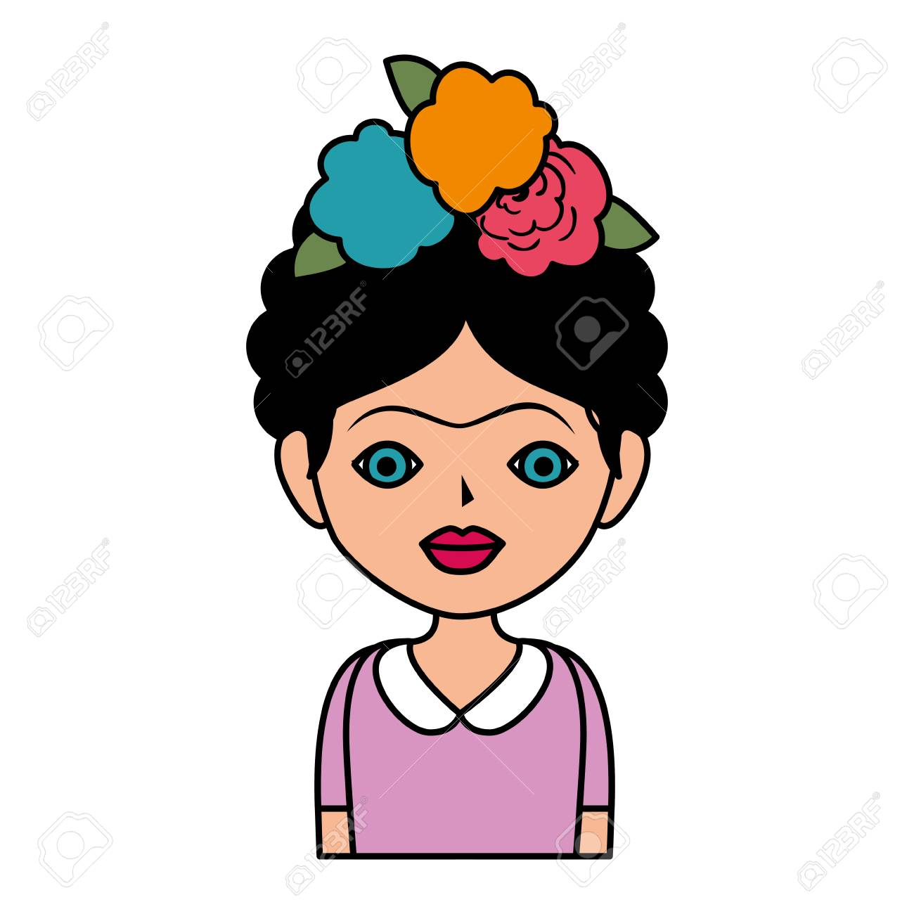frida kahlo with floral decoration vector illustration design.