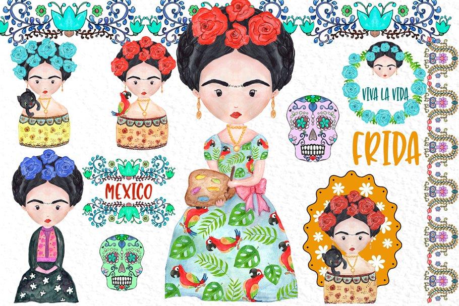 Frida Kahlo Clipart Mexican clipart ~ Illustrations.