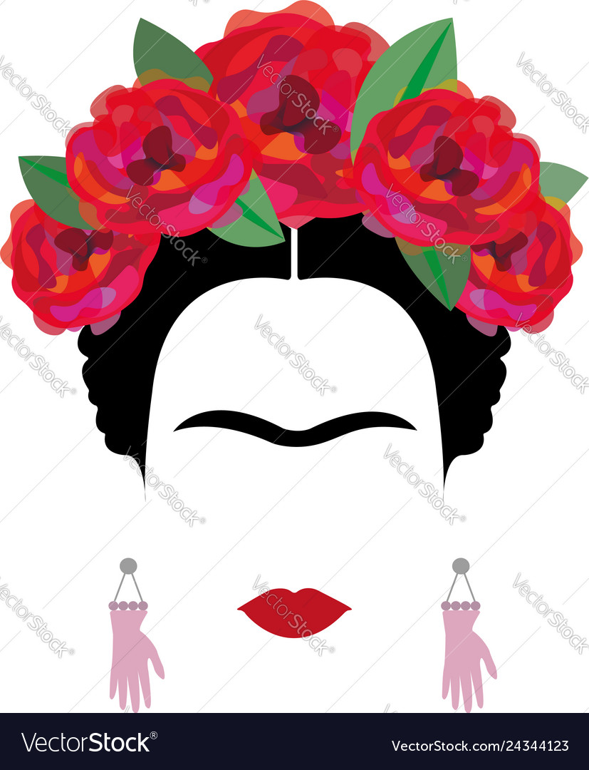 Portrait woman minimalist frida kahlo.
