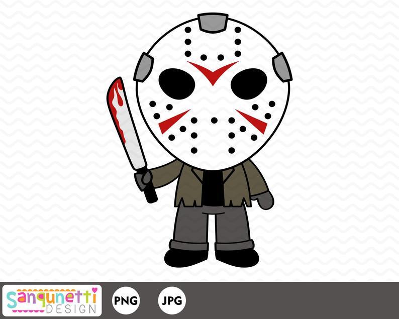 Jason Friday the 13th clipart, Halloween Horror digital art instant download.